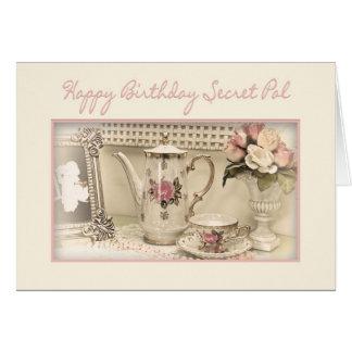 Carte ANNIVERSAIRE - SECRET pal - service à thé vintage