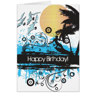 Carte Anniversaire surfant grunge de surfer de plage