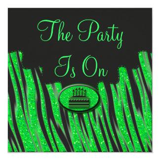 Carte Anniversaire vert et noir au néon de parties
