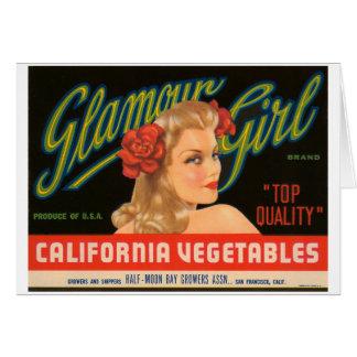 Carte Annonce de cru de légumes de la Californie de