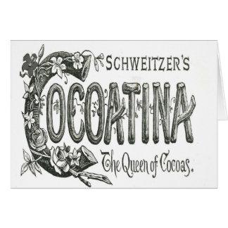 Carte Annonce vintage noire et blanche de Cocoatina à