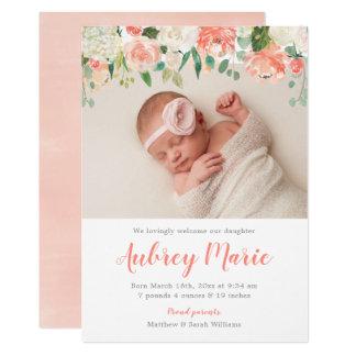 Carte Annonces florales de naissance de photo de fille