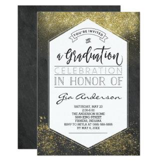 Carte Annonces modernes de célébration de diplômé d'or
