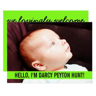 Carte Annonces vertes de naissance de bébé de photo