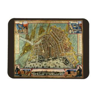 Carte antique d'Amsterdam, Hollande aka Pays-Bas Magnet Flexible