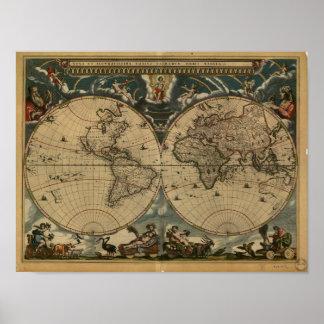 Carte antique du monde - 1664