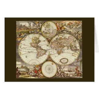 Carte antique du monde, C. 1680. Par Frederick de