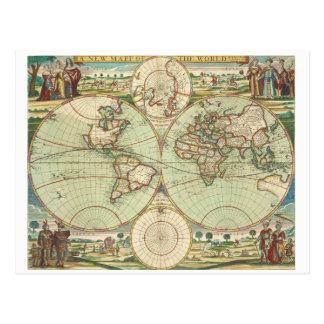 Carte antique du monde, carte postale
