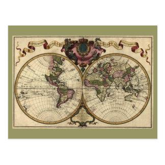 Carte antique du monde par Guillaume de L'Isle, Cartes Postales