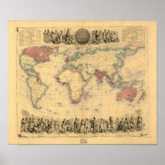 Carte antique - l'Empire Britannique 1850
