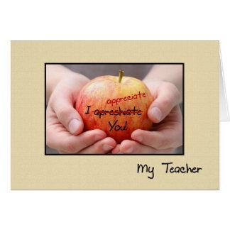 Carte Appréciation mignonne Apple de professeur pour le