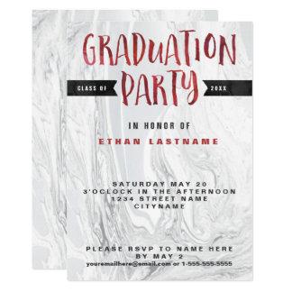 Carte Aquarelle de marbre de fête de remise des diplômes