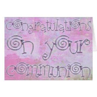 Carte Aquarelle de typographie de communion de