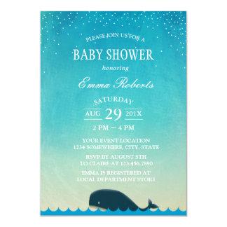 Carte Aquarelle élégante de baleine mignonne de baby