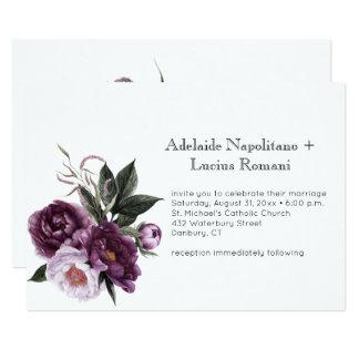 Carte Aquarelle florale de rose pourpre de prune