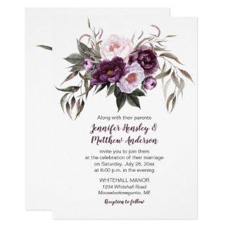 Carte Aquarelle pourpre #3 l'épousant floral de rose de