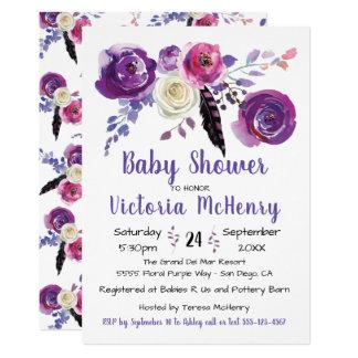 Carte Aquarelle pourpre Boho floral BabyShower