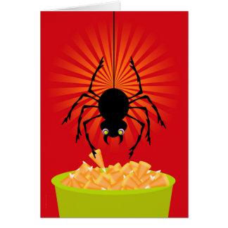 Carte Araignée drôle de Halloween volant des bonbons au