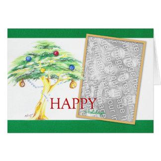 Carte Arbre d'acacia avec des ornements de Noël