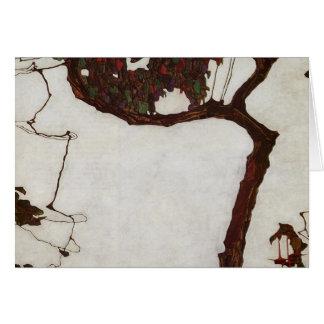 Carte Arbre d'automne avec des fuchsias