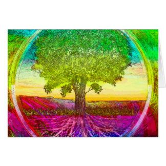 Carte Arbre de la vie coloré par arc-en-ciel