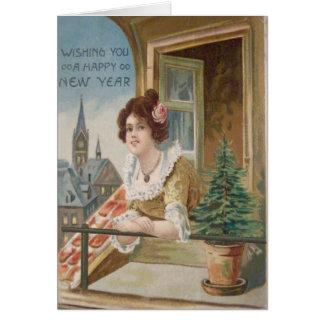 Carte Arbre de Noël d'église de fenêtre de femme