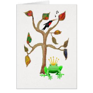 Carte arbre, oiseau de chant et illustration de