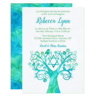Carte Arbre vert turquoise d'aquarelle de bat mitzvah de