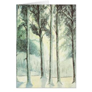 Carte Arbres givrés par Noël vintage dans la forêt