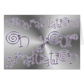 Carte Argent chic de typographie d'obtention du diplôme