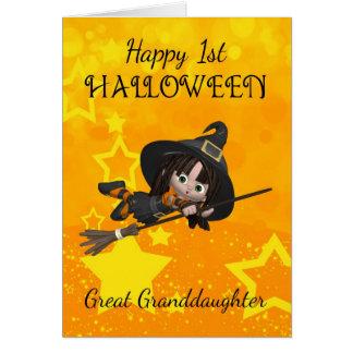 Carte Arrière-petite-fille ęr Halloween avec petit