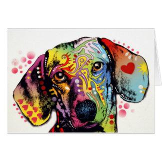 Carte art coloré de teckel