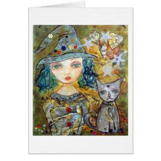 Carte Art de païen de Wiccan de fille de sorcière