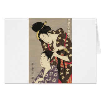 Carte Art d'Utamaro Yuyudo Ukiyo-e de la coiffure des