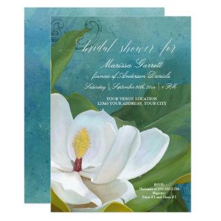 Carte Art floral de magnolia élégante moderne nuptiale
