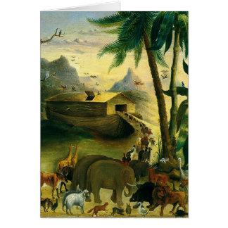 Carte Art populaire victorien vintage, l'arche de Noé