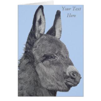 Carte Art réaliste de dessin mignon d'âne noir et blanc