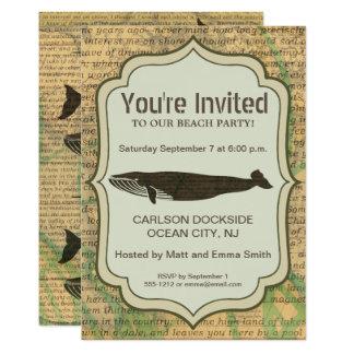 Carte Art rustique nautique de baleine d'invitation de