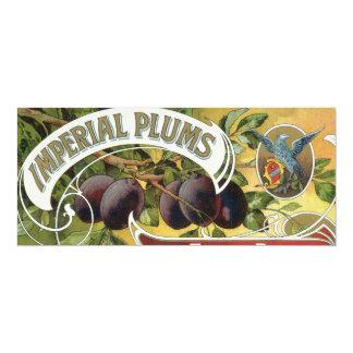 Carte Art vintage d'étiquette de caisse de fruit, prunes