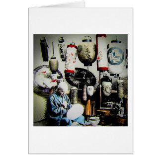 Carte Artisan vintage de parapluie de papier de lanterne