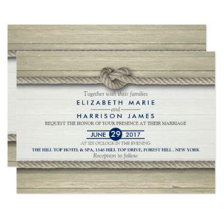 Carte Attachement du mariage de plage rustique de noeud