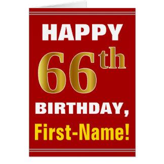 Carte Audacieux, rouge, anniversaire d'or de Faux