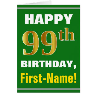 Carte Audacieux, vert, anniversaire d'or de Faux