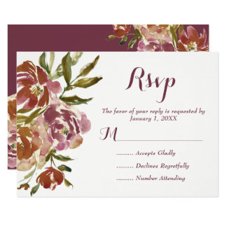 Carte Automne RSVP l'épousant floral de Bourgogne