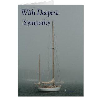 Carte Avec la sympathie la plus profonde, voilier dans
