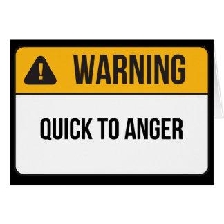 Carte Avertissement - vite à la colère