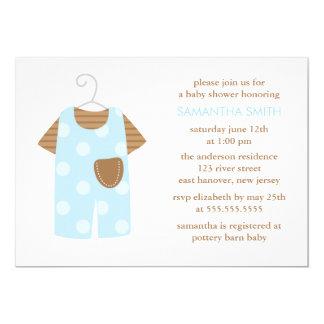 Carte Baby shower bleu d'équipement de bébé