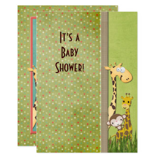 Carte Baby shower d'animal de jungle