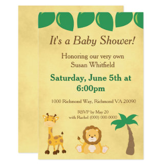 Carte Baby shower d'animaux de safari