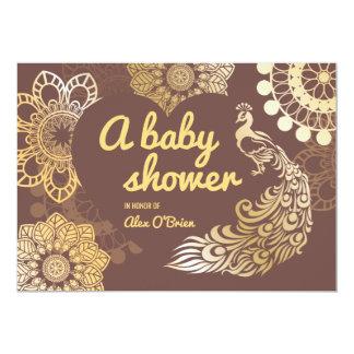 Carte Baby shower de dessin de paon d'or d'aluminium